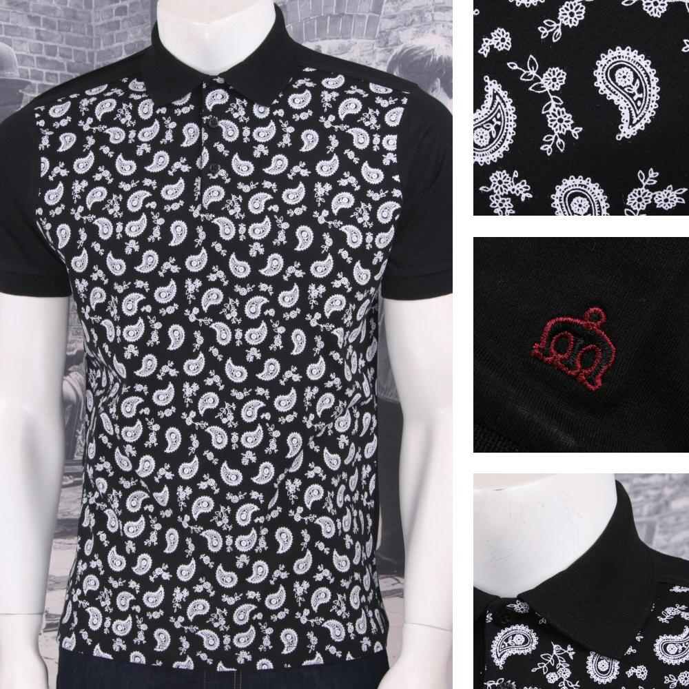Merc London Mod Retro 60's Paisley Print Short Sleeve Polo Shirt Black