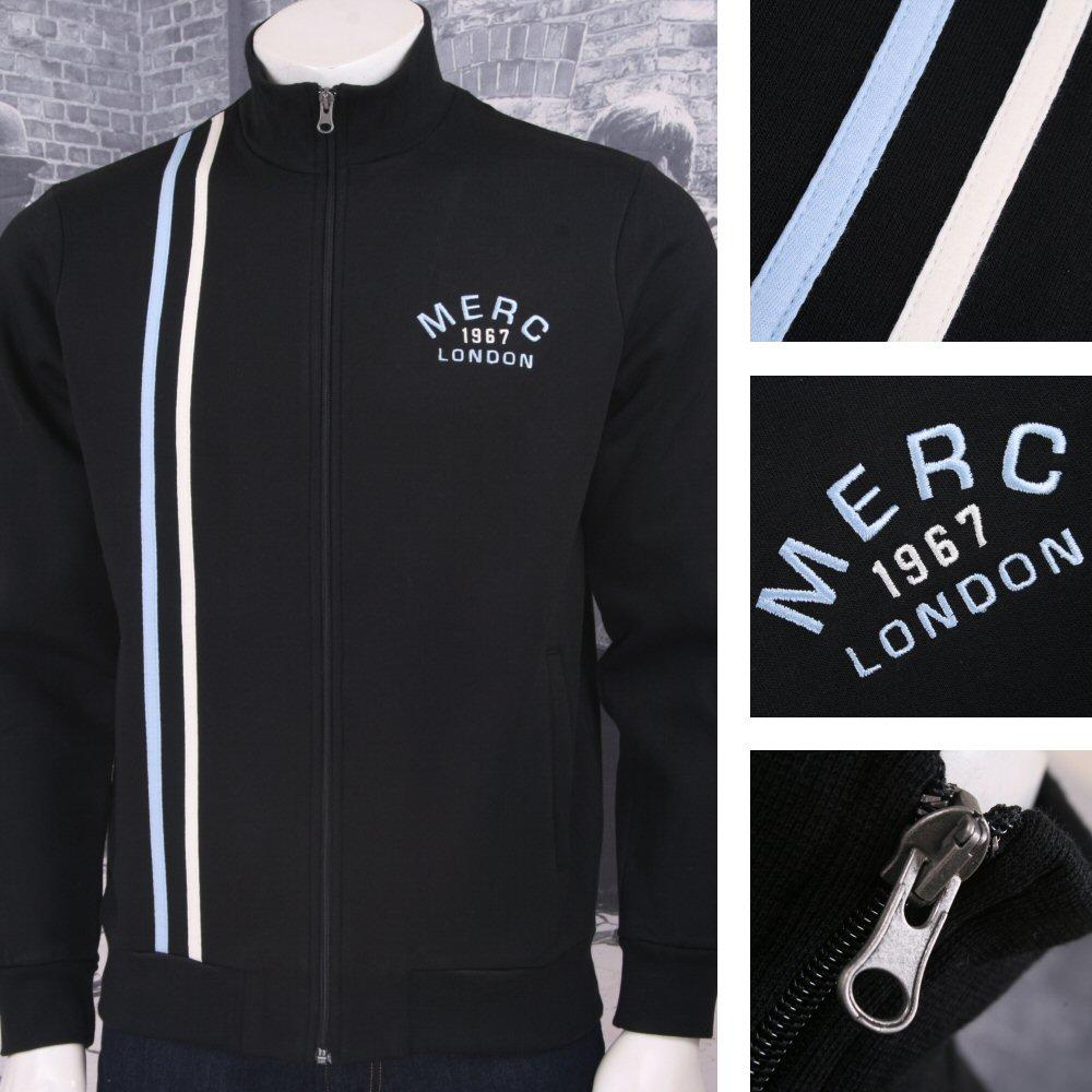 Merc London Mod 60's Retro Casuals Racing Stripe Zip Track Top Black