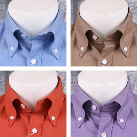 PACK OF 4 Adaptor Clothing Mod Retro Skin Button Down L/S Cotton Twill Plain Shi Thumbnail 1
