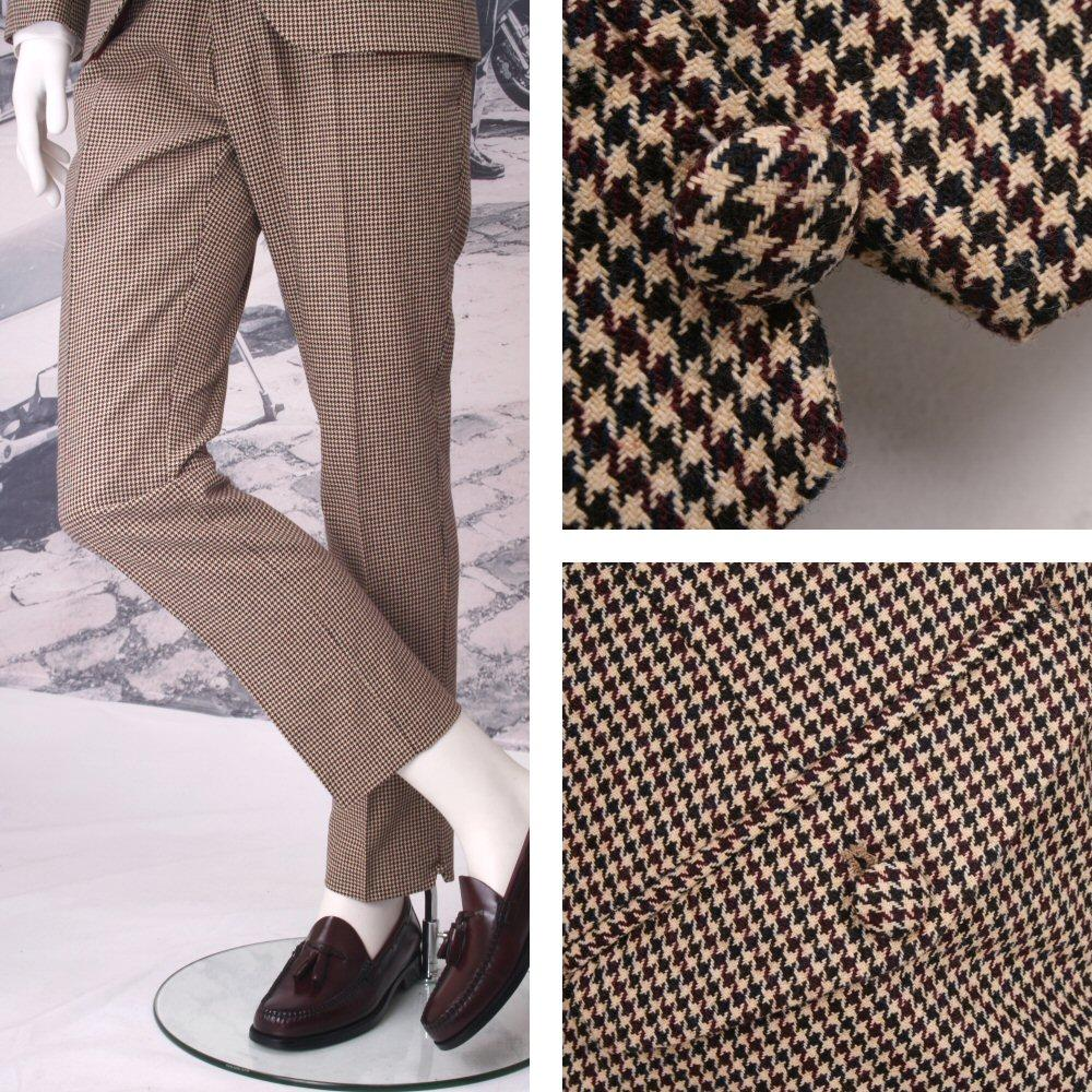 Adaptor Clothing Mod 60's Retro Dogtooth Italian Wool V Notch Trousers Cream