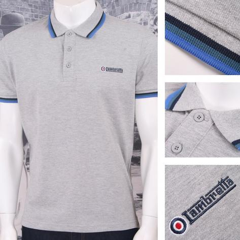 Lambretta Mod Retro 60's Skin 3 Button S/S Tri-Tipped Pique Polo Shirt Grey Thumbnail 1