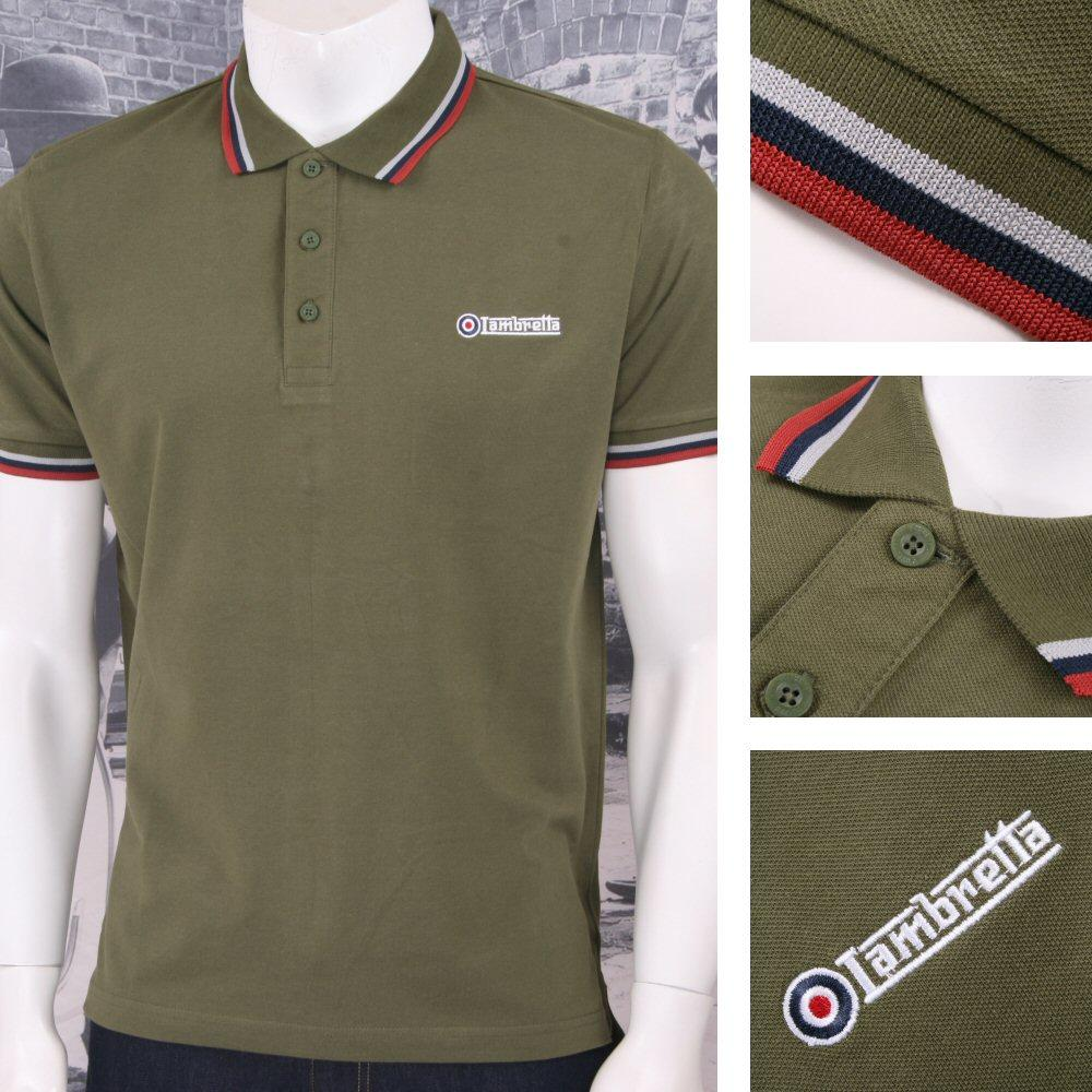 Lambretta Mod Retro 60's Skin 3 Button S/S Tri-Tipped Pique Polo Shirt Olive