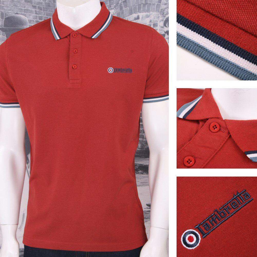 Lambretta Mod Retro 60's Skin 3 Button S/S Tri-Tipped Pique Polo Shirt Brick
