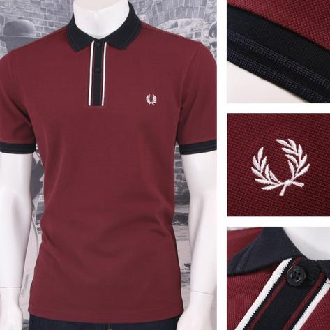 Fred Perry Mod 60's Laurel Wreath Pique Tipped Placket Polo Shirt Burgundy Thumbnail 1