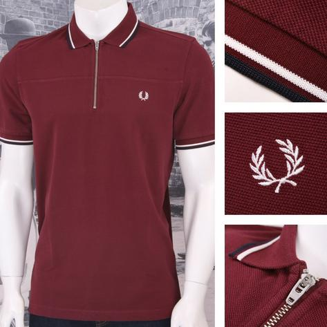 Fred Perry Mod 60's Laurel Wreath Pique Zip Neck Tipped Collar Shirt Thumbnail 2
