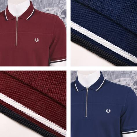 Fred Perry Mod 60's Laurel Wreath Pique Zip Neck Tipped Collar Shirt Thumbnail 1