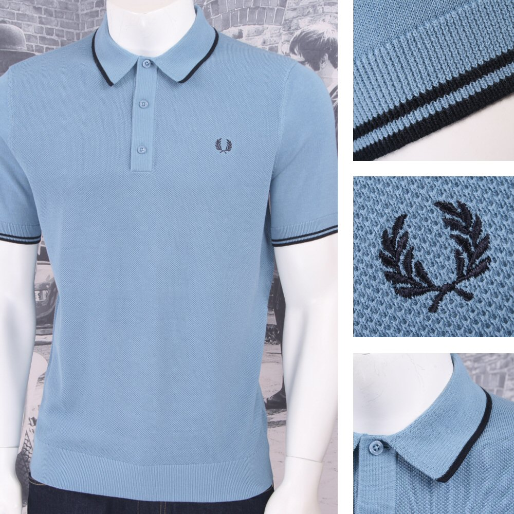 a558e874 Fred Perry Mod 60's Laurel Wreath Authentic Waffle Knit Tipped Polo Shirt