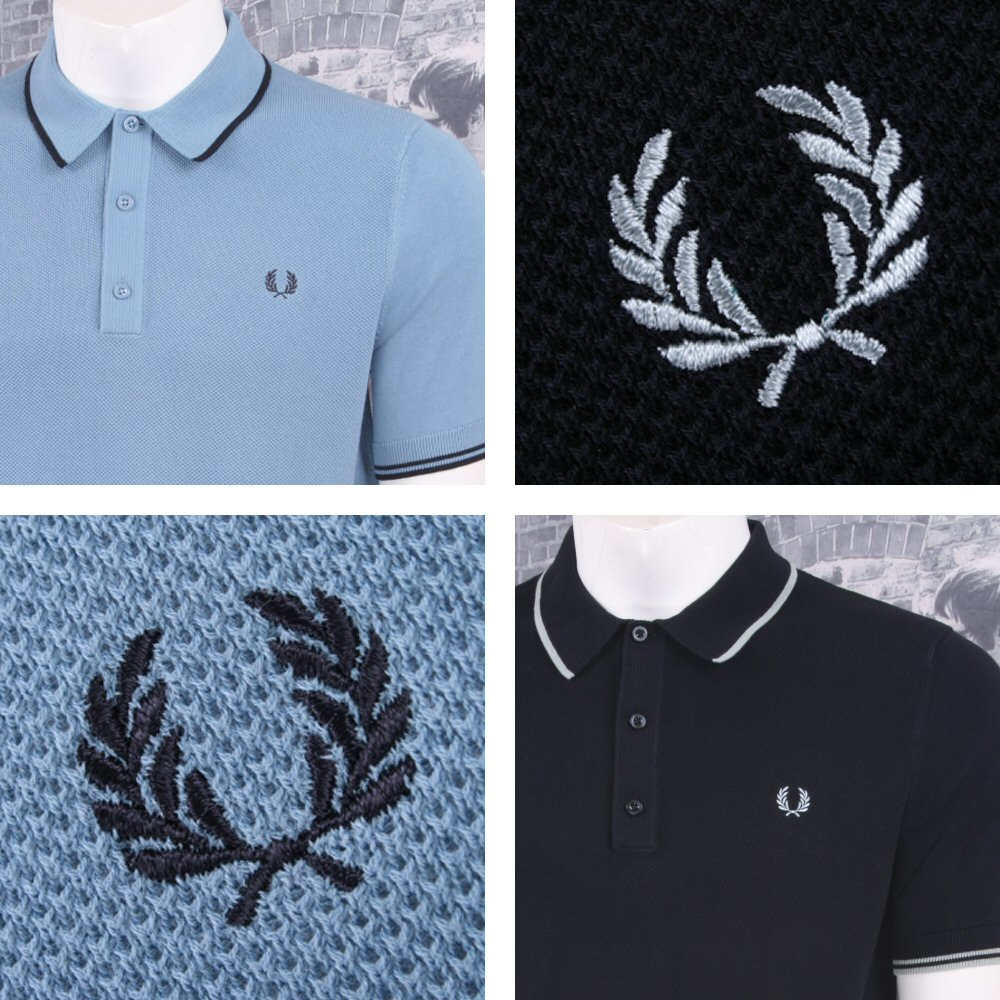 5e77d673 Fred Perry Mod 60's Laurel Wreath Authentic Waffle Knit Tipped Polo Shirt  Thumbnail 1 ...