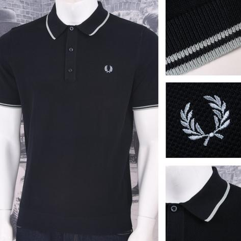 Fred Perry Mod 60's Laurel Wreath Authentic Waffle Knit Tipped Polo Shirt Thumbnail 3