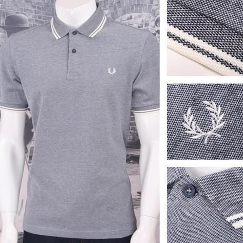 Fred Perry Mod 60's Laurel Wreath Oxford Weave Pique Tipped Polo Shirt Thumbnail 2