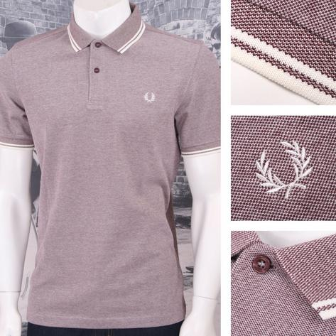 Fred Perry Mod 60's Laurel Wreath Oxford Weave Pique Tipped Polo Shirt Thumbnail 3