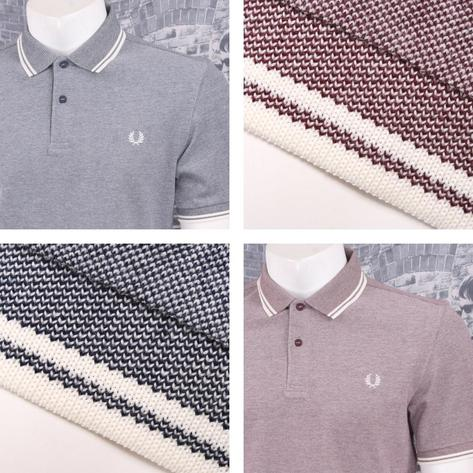 Fred Perry Mod 60's Laurel Wreath Oxford Weave Pique Tipped Polo Shirt Thumbnail 1