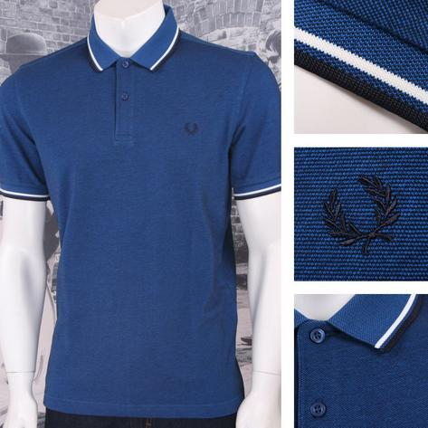 Fred Perry Mod 60's Laurel Wreath Oxford Weave Pique Tipped Polo Shirt Blue Thumbnail 1