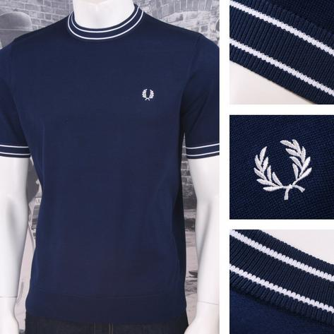 Fred Perry Mod 60's Laurel Wreath S/S Turtle Neck Ringer Knit Sports Top Navy Thumbnail 1