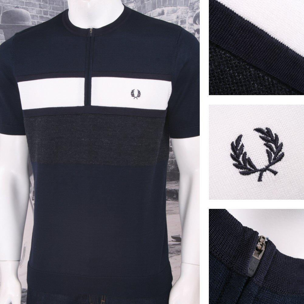 Fred Perry Mod 60's Laurel Wreath Crew Zip Neck Block Stripe Cycling Top Navy