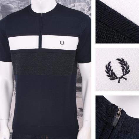 Fred Perry Mod 60's Laurel Wreath Crew Zip Neck Block Stripe Cycling Top Navy Thumbnail 1