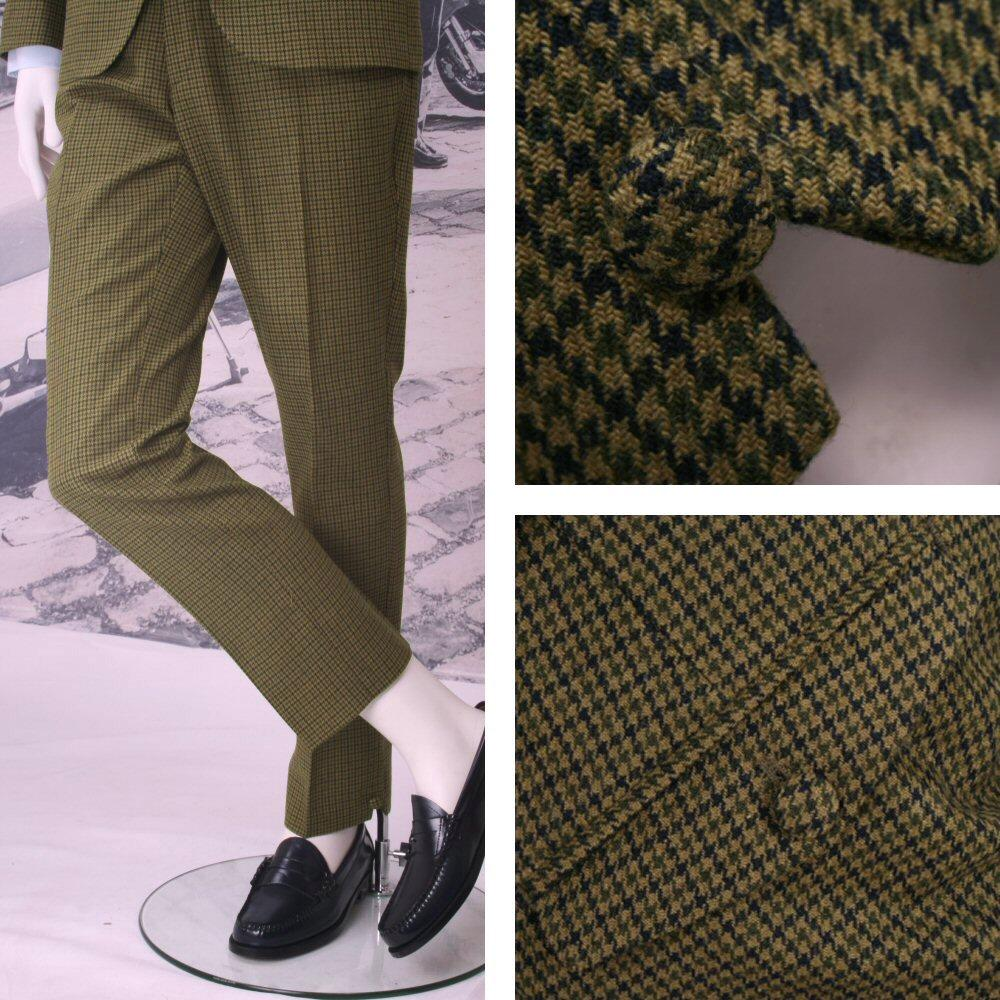 Adaptor Clothing Mod 60's Retro Dogtooth Italian Wool V Notch Trousers Green