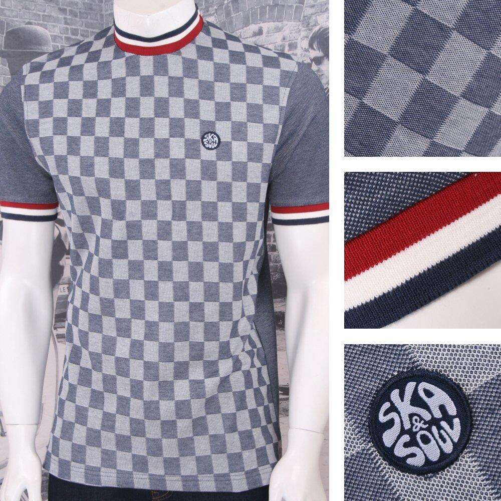 Ska & Soul Mod Retro 60's Checkerboard Front Ringer Tonic 2Tone T-Shirt Navy