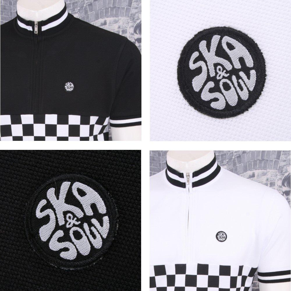 Ska & Soul Mod Retro 60's Skin 2Tone Checkerboard Tipped Cycling Top