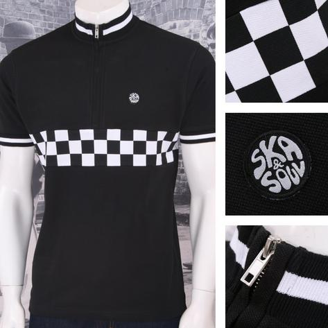 Ska & Soul Mod Retro 60's Skin 2Tone Checkerboard Tipped Cycling Top Thumbnail 2