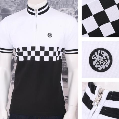Ska & Soul Mod Retro 60's Skin 2Tone Checkerboard Tipped Cycling Top Thumbnail 3