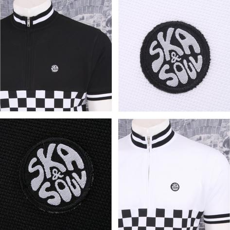 Ska & Soul Mod Retro 60's Skin 2Tone Checkerboard Tipped Cycling Top Thumbnail 1
