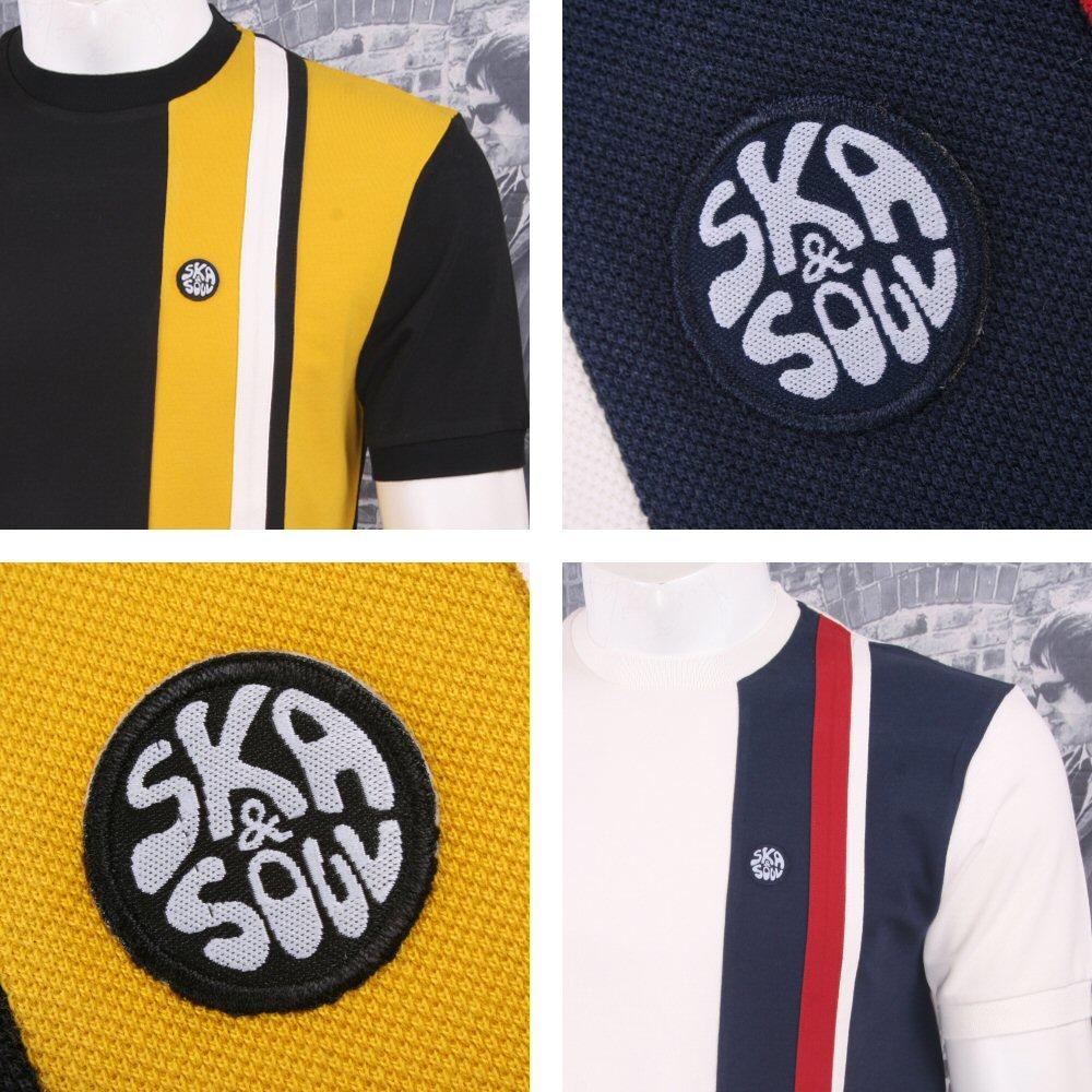 Ska & Soul Mod Retro 60's Vertical Multi Half Stripe Panel Pique T-Shirt