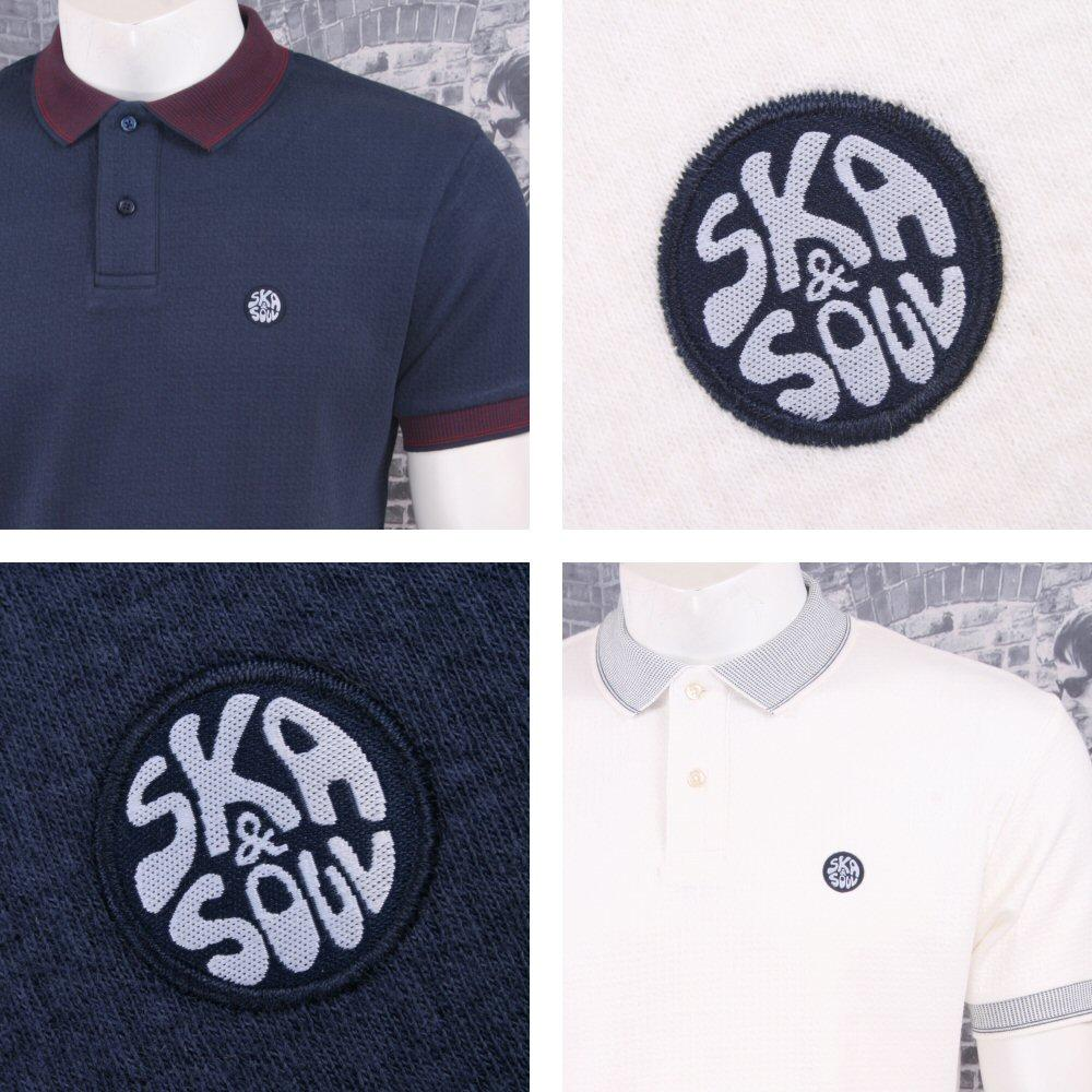 Ska & Soul Mod Retro 60's Contrast Collar Basketweave Jersey Polo Shirt