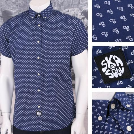 Ska & Soul Mod 60's Retro Button Down Mini Scooter Print S/S Shirt Thumbnail 2