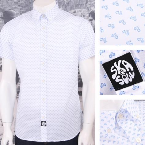 Ska & Soul Mod 60's Retro Button Down Mini Scooter Print S/S Shirt Thumbnail 3