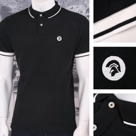 Trojan Records Retro Mod Skin 60's Brick Texture Knit Tipped Polo Shirt Thumbnail 2