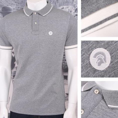 Trojan Records Retro Mod Skin 60's Brick Texture Knit Tipped Polo Shirt Thumbnail 3