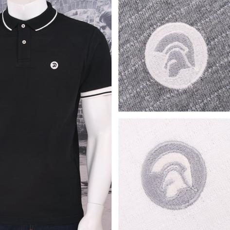 Trojan Records Retro Mod Skin 60's Brick Texture Knit Tipped Polo Shirt Thumbnail 1