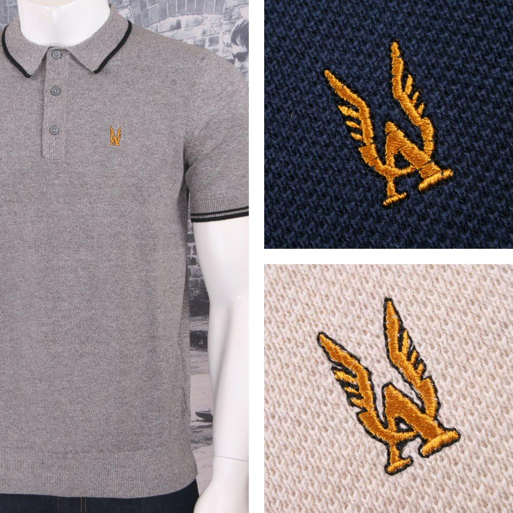 Authentic Aertex Mod 60's Retro Waffle Texture Knit Cotton Tipped Polo Shirt