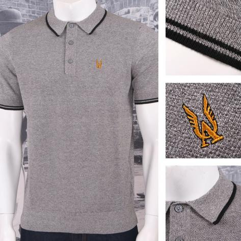 Authentic Aertex Mod 60's Retro Waffle Texture Knit Cotton Tipped Polo Shirt Thumbnail 2