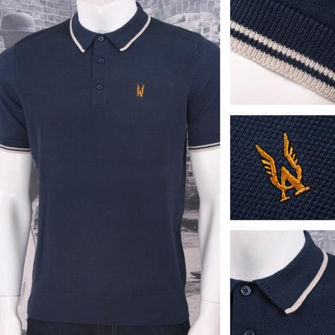 Authentic Aertex Mod 60's Retro Waffle Texture Knit Cotton Tipped Polo Shirt Thumbnail 3