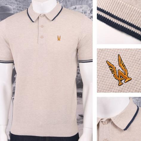 Authentic Aertex Mod 60's Retro Waffle Texture Knit Cotton Tipped Polo Shirt Thumbnail 4