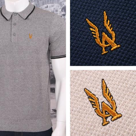 Authentic Aertex Mod 60's Retro Waffle Texture Knit Cotton Tipped Polo Shirt Thumbnail 1