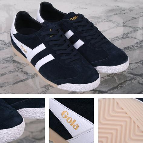 Gola Harrier Special Edition Suede Lace Up Trainer NAVY / White Thumbnail 1