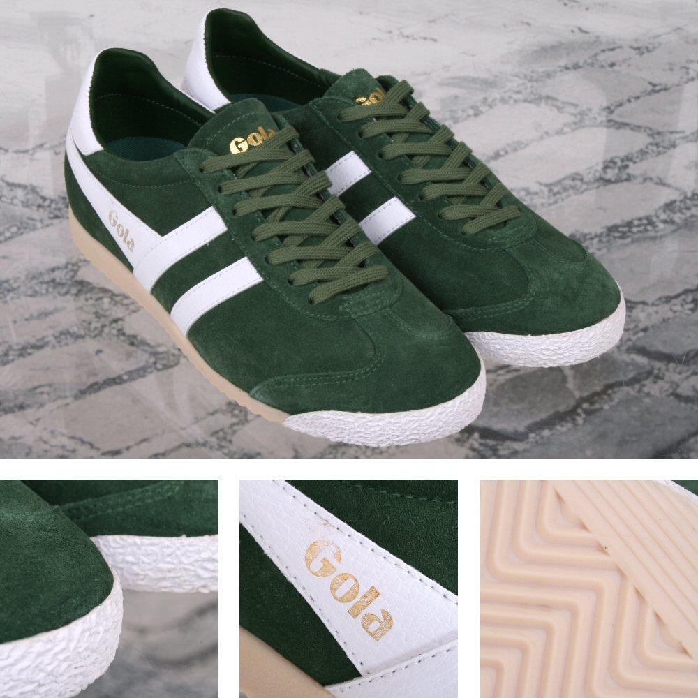 Gola Harrier Special Edition Suede Lace Up Trainer GREEN / White