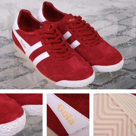 Gola Harrier Special Edition Suede Lace Up Trainer RED / White Thumbnail 1