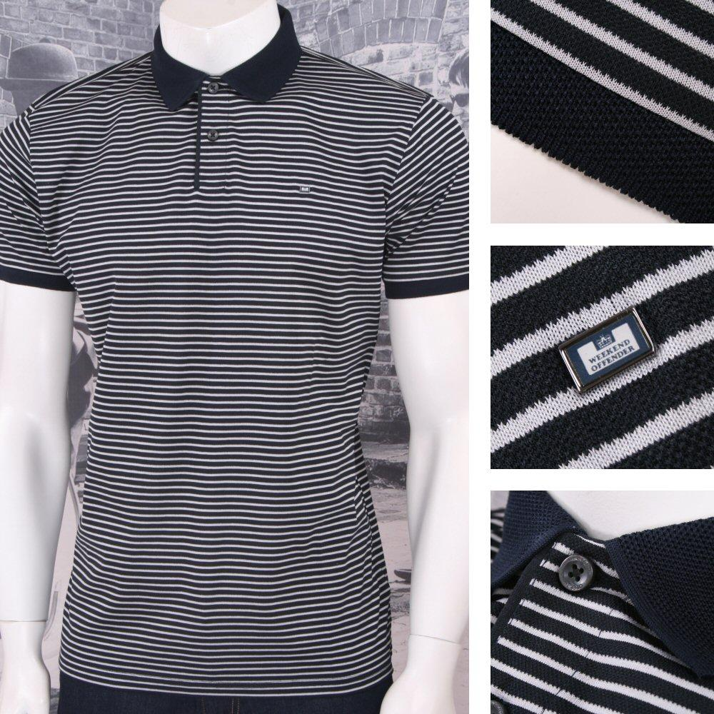 Weekend Offender Retro Mod 60's Sporty Horizontal Stripe Pique Polo Shirt Navy