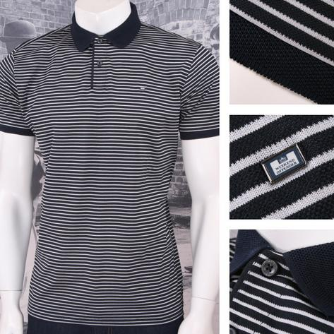 Weekend Offender Retro Mod 60's Sporty Horizontal Stripe Pique Polo Shirt Navy Thumbnail 1