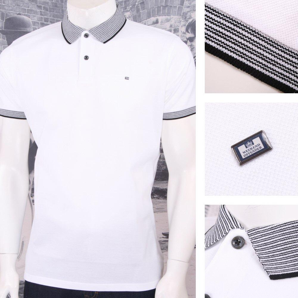 Weekend Offender Retro Mod Sporty Mixed Stripe Collar Pique Polo Shirt White