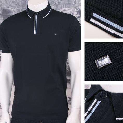 Weekend Offender Retro Mod 60's Sporty Staggered Twin Tipped Polo Shirt Navy Thumbnail 1
