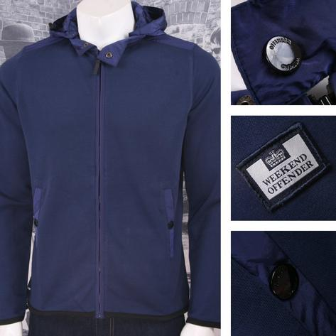 Weekend Offender Retro Casual Terrace Jersey Zip Through Hooded Jumper Thumbnail 2