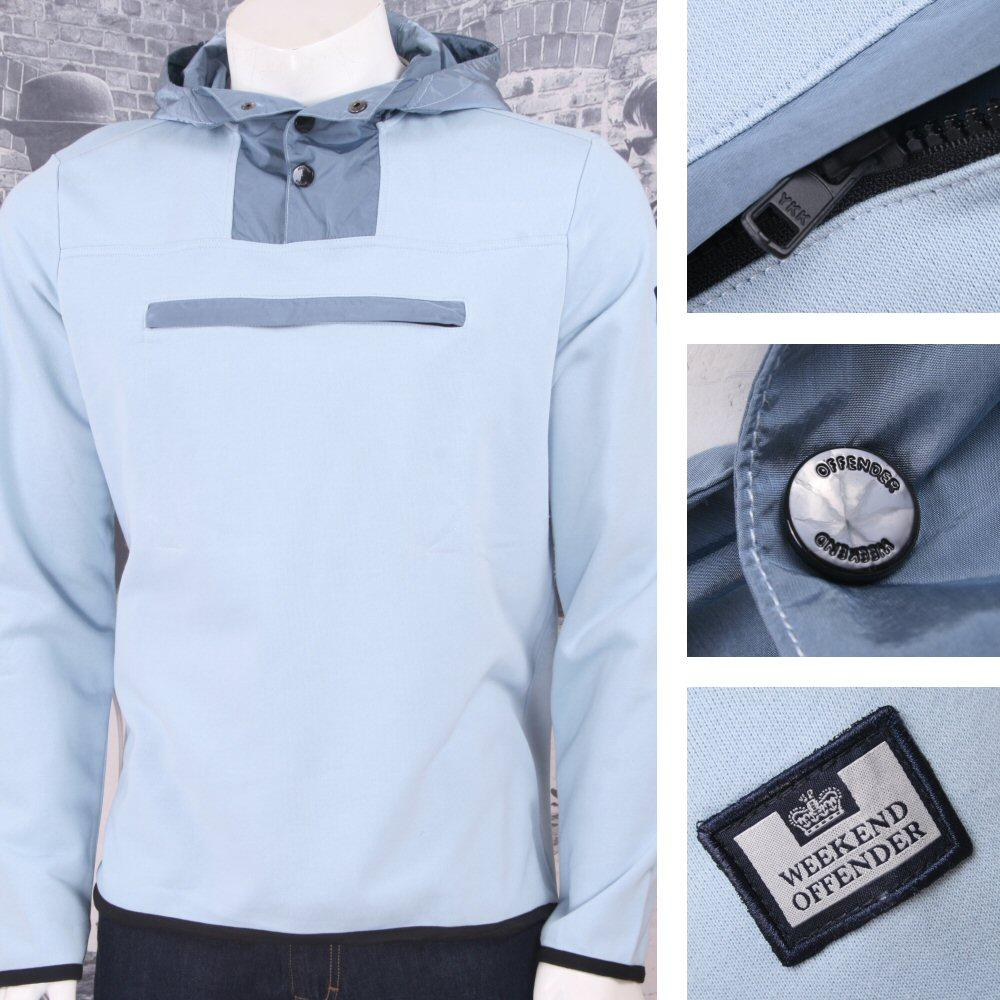 Weekend Offender Retro Casual Terrace Jersey Chest Pocket Hooded Jumper Sky