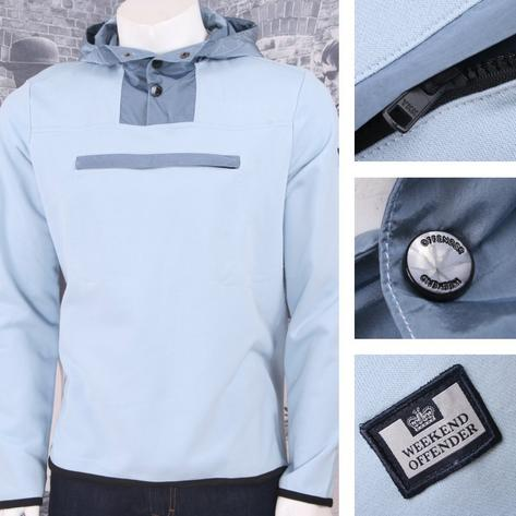 Weekend Offender Retro Casual Terrace Jersey Chest Pocket Hooded Jumper Sky Thumbnail 1