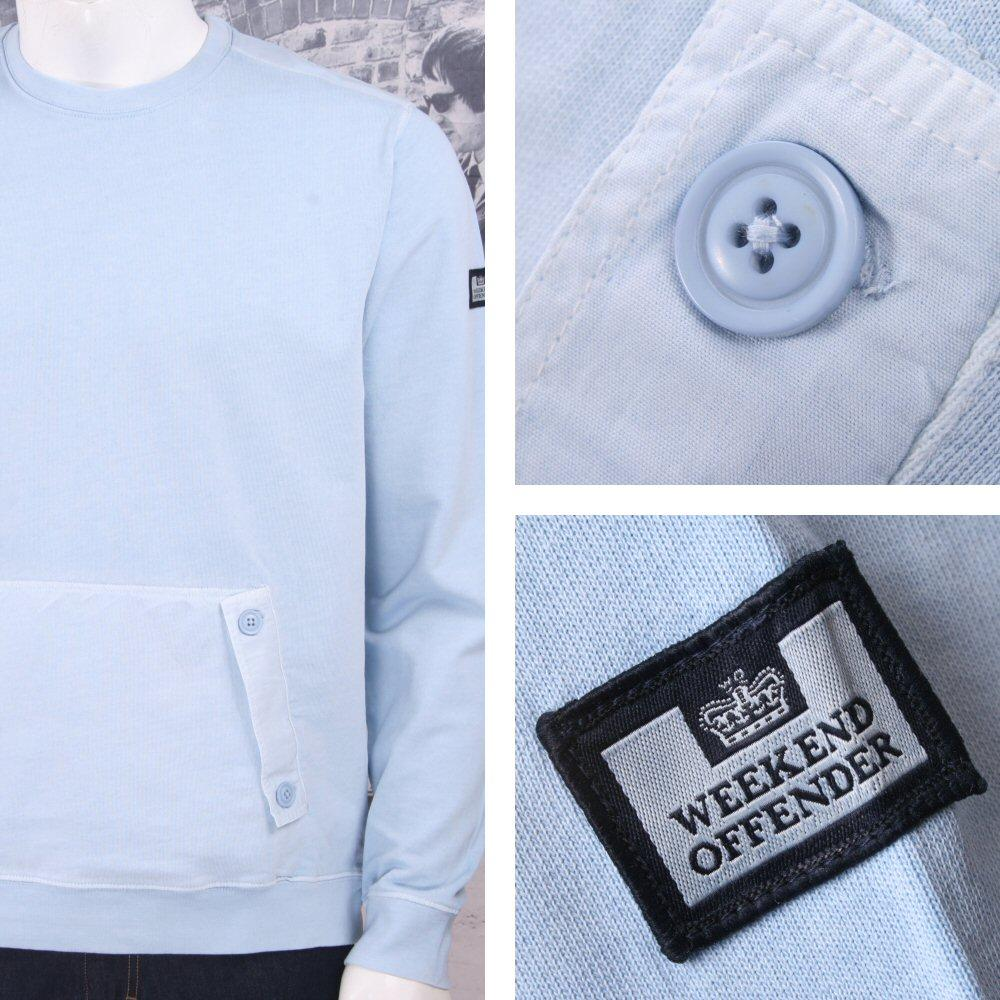 Weekend Offender Retro Casual Terrace Jersey Front Pocket Jumper Sweater Sky