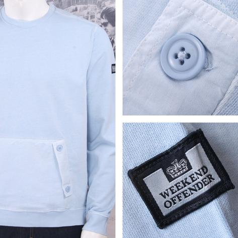 Weekend Offender Retro Casual Terrace Jersey Front Pocket Jumper Sweater Sky Thumbnail 1